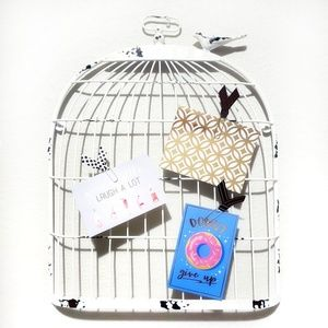 Birdcage Wire Wall Decor - Shabby Chic White